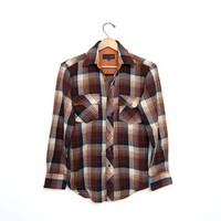Vintage plaid flannel. soft button up shirt. Unisex. Brown blue cream grunge shirt. Work shirt. 80s oversized tomboy shirt. Mens SMALL
