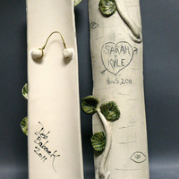 Woodland Wedding Personalized Ceramic Tree Trunk Log