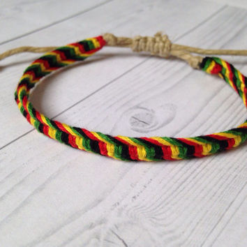 Rasta, Bob Marley Inspired, Hemp adjustable Macrame Friendship Bracelet