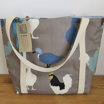 Tote Bag, Fabric Bag, Canvas Women's Tote, Handmade Shoulder Bag in Duck Fabric, Shopper, Everyday Market Bag, Canvas Handbag, Duck Purse