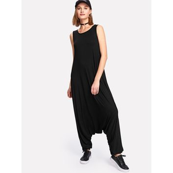 Drop Crotch Jersey Jumpsuit