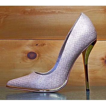 Luichiny Mind Blowing Nude Snake Pointy Toe High Heel Pump Shoe Size 9