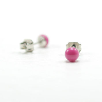 Hot Pink Stud Earrings 4mm - Tiny Pink Ear Studs - Hot Pink Earrings - Hypoallergenic - Stainless Steel Post Earrings - Resin Earrings