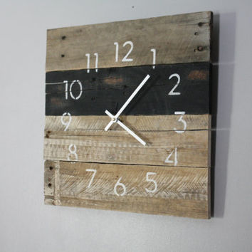 Hip, Modern, Black and gray clock. Rustic meets Industrial. Recycled, Reclaimed, Repurposed Pallet Wood Wall Clock. Great gift idea.