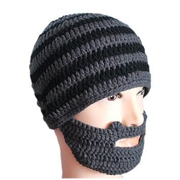 Winter Knitted Beanie with Beard