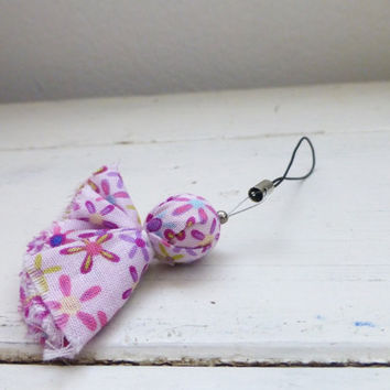 Cell phone charm, zipper pull, cloth covered beads, wooden bead, purse charm, ready to ship, handmade, pink charm, women's accessory, cute