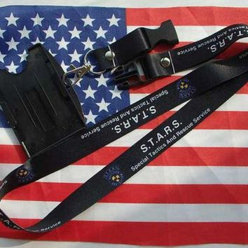 Resident Evil Stars Lanyard Neck Strap Double Sided Id Holder Card Holder Black-US190