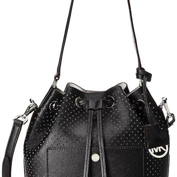 Michael Kors Greenwich Medium saffiano leather Bucket Bag Black/silver