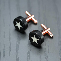 Precious STAR cufflinks - Handmade ebony and bone inlaid men cufflinks - gift idea