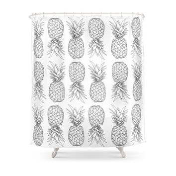 society6 tooti fruity pineapple shower curtain