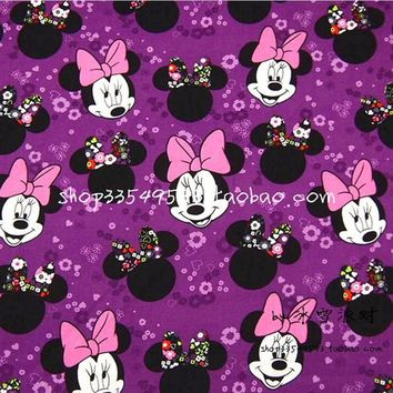 Mickey Mouse Fabric 140*50cm 1pcs 100%Cotton Fabric Telas Patchwork Mickey Mouse Print Fabric DIY Sewing Baby Clothing Quilting