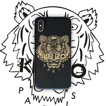 KENZO Tide brand couple classic bronzing tiger head print iphoneXS max phone case black