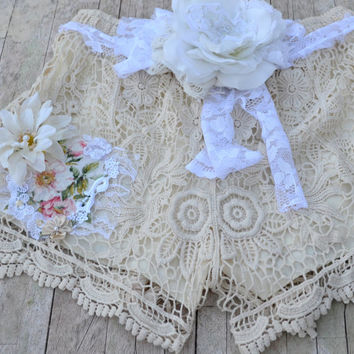 SALE Crochet shorts, romantic country chic, boho clothes, Shabby nude embellished shorts, altered clothing, women's,  true rebel clothing