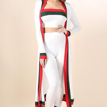 Faviola White Red Stripe Outline Three Piece Set