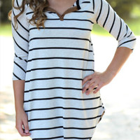 White Stripe Sleeve Asymmetrical Shirt
