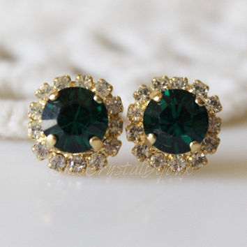 Emerald Stud Earrings, Emerald and Crystal, Swarovski Crystal, Cushion Cut Halo Rhinestone Stud Earrings Green Stud, Emerald Earrings
