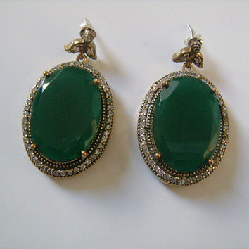 925 Silver and Polished Green Stone Oval Cut Faux Emerald &Diamond-Like Cubic Zirconia Fabulous Chunky Earrings Christmas Holiday Gift Ideas