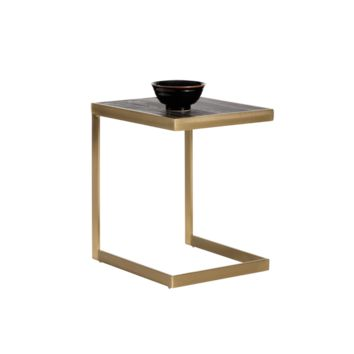 SEED MATTE GOLD STAINLESS STEEL FRAME WITH PLANKS OF HERITAGE OAK SMOKED FINISH TOP SIDE TABLE