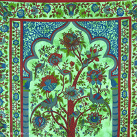 Queen Size Tree of Life Cotton Indian Bohemian Tapestry Coverlet