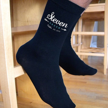 Stylized Men's Custom Printed Wedding Socks - Personalized with Name and Date of the Wedding