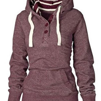 Claret Buttoned Pocket Detail Hoodie