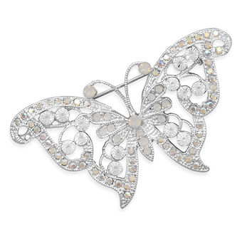 Bridal Pin Clear Swarovski Crystal Butterfly