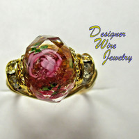 DWJ0233 Romantic Faceted Pink and Topaz Crystal Rose Gold Tone Wire Wrap Ring