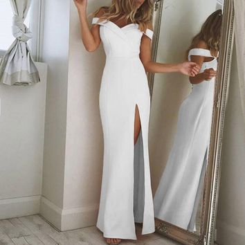 Off The Shoulder Women's High Side Slit Wedding Dress