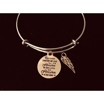 Gold Memorial Jewelry Expandable Charm Bracelet Because Someone We Love Is in Heaven We Have A Little Bit of Heaven in Our Home Adjustable Wire Bangle One Size Fits All Gift Angel Wing