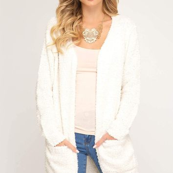 Women's Long Sleeve Sweater Cardigan with Front Pockets
