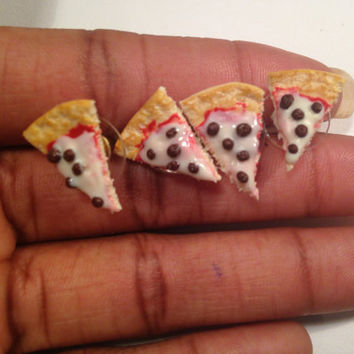 Miniature Sausage Pizza Slice Stud Earrings Food Jewelry