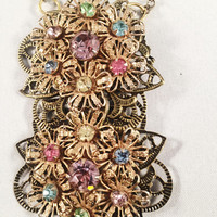 Hand Designed Vintage Necklace Assemblage, Vintage Jewelry, Pastels, Rhinestones, Reclaimed Jewelry,  (SEE NOTE In Description)