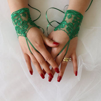 FREE SHİP Wedding Gloves, Green Lace Gloves,Fingerless,Costume Accessories,Fingerless,Mittens