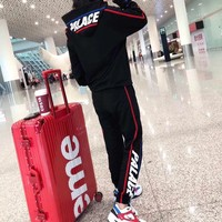 """Palace"" Women Casual Fashion Stripe Letter Print Long Sleeve Hoodie Sweater Trousers Set Two-Piece Sportswear"