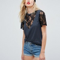 ASOS TALL T-Shirt with Ravage Lace Detail at asos.com