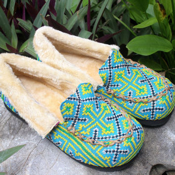 Womens Slippers Moccasin Style Ethnic Hmong Light Blue Embroidery With Plush Lining Gift