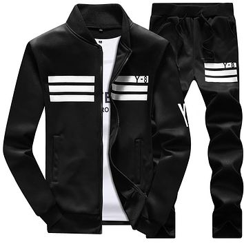 Large size 8XL Men track Suits Pants Two Piece Track Suit Men  Stand Collar Sportswear Hip Hop Casual Sets Fitness Clothing