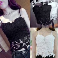2014 New Cutest Sexy Lace Flower Tank Top Sexy Cami Sleeveless Casual Cotton T-Shirt SV003304 Base shirt One size = 1745556228