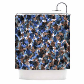 "Ebi Emporium ""WILD THING, BLUE BROWN"" Blue Brown Animal Print Abstract Watercolor Mixed Media Shower Curtain"