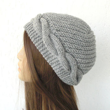Hand knit hat -Womens Hat-  Cloche hat   in silver gray- Victorian  Hat   - Winter Accessories-  Heather gray warm   fall autumn fashion