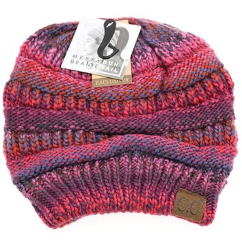 Multi Color Cable Knit CC Tail Beanie