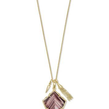 Kendra Scott: Arlet Gold Pendant Necklace In Brown Dusted Glass