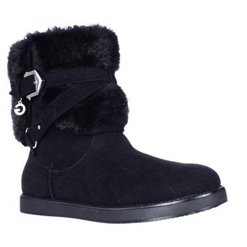 G by GUESS Alixa Fuzzy Lined Pull On Short Winter Boots, Black Multi, 7.5 US