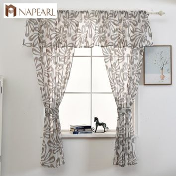 Short curtain kitchen window faux linen jacquard fabrics semi-sheer curtain panel tulle window treatment modern curtain set