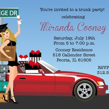 Graduation College Trunk Party Invitations