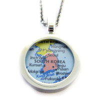 South Korea Map Pendant Necklace
