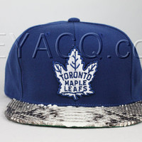 Custom Toronto Maple Leafs Strapback, Natural Python Belly, Green Lambskin, Gold Buckle