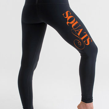 Squats. Leggings. Workout leggings. Womens Printed leggings. Yoga leggings. Workout pants. Sweat It Out Duds workout clothes. Leggings.