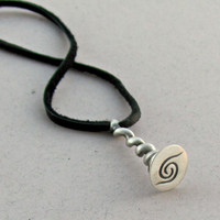Silver Stamp Necklace, Seal Pendant, Silver Coil Necklace, Solid Silver Seal Stamp