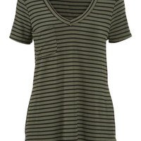 tee with one pocket and stripes